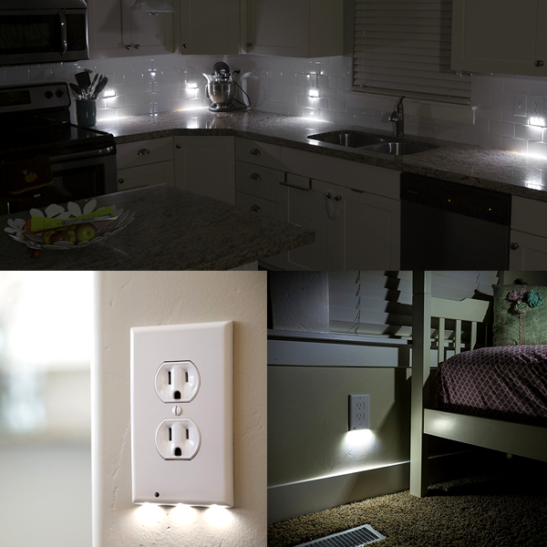 led wall outlet coverplate with built in light sensor no on wall outlet id=88933