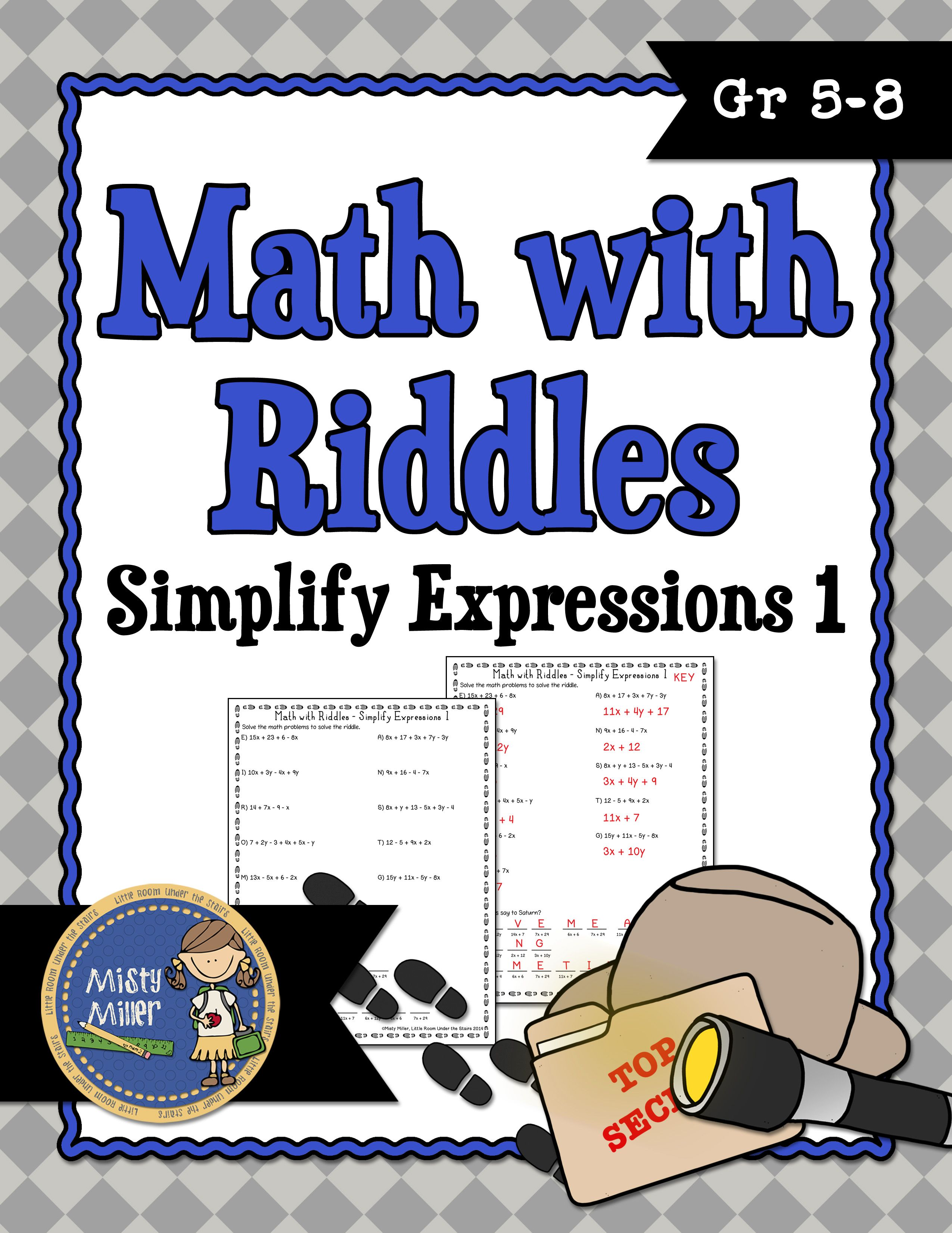 Simplify Expressions 1 Math With Riddles