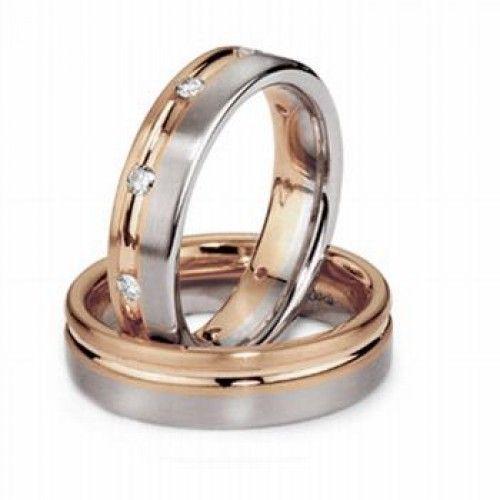 Two Tone 10k White Yellow Gold Satin Ladies And Mens Wedding Rings 03 Carat Round