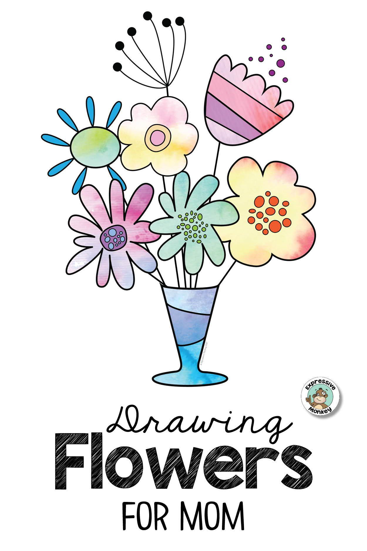 Drawing Mother S Day Flowers Mothers Day Drawings Flower Drawing For Kids Flowers For Mom