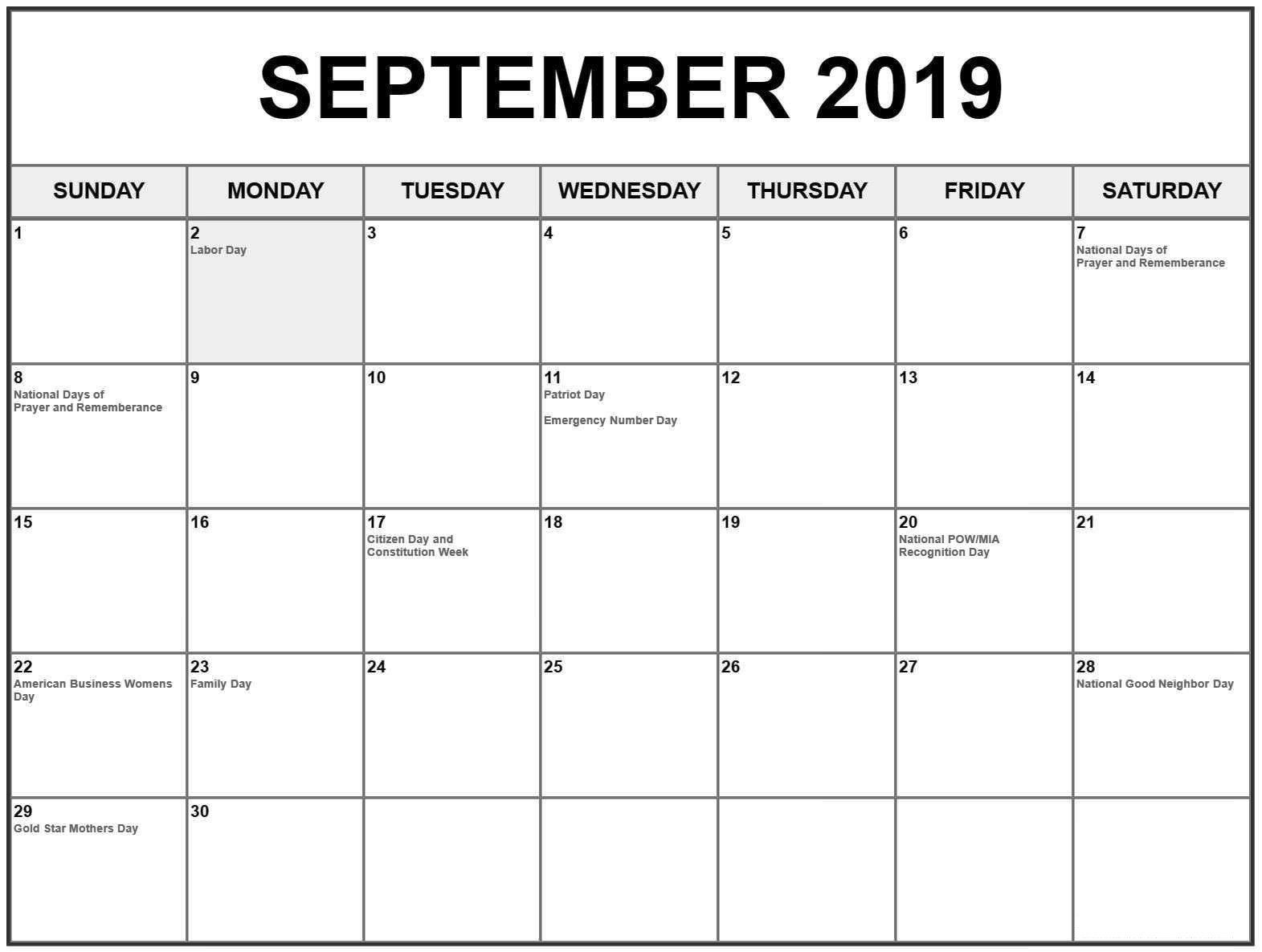 September 2019 Calendar With Holidays Us Uk Canada India
