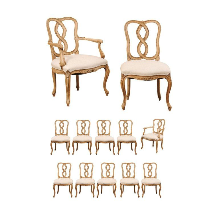 Enjoyable Set Of Twelve Venetian Style Carved Wood Ribbon Back Splat Short Links Chair Design For Home Short Linksinfo