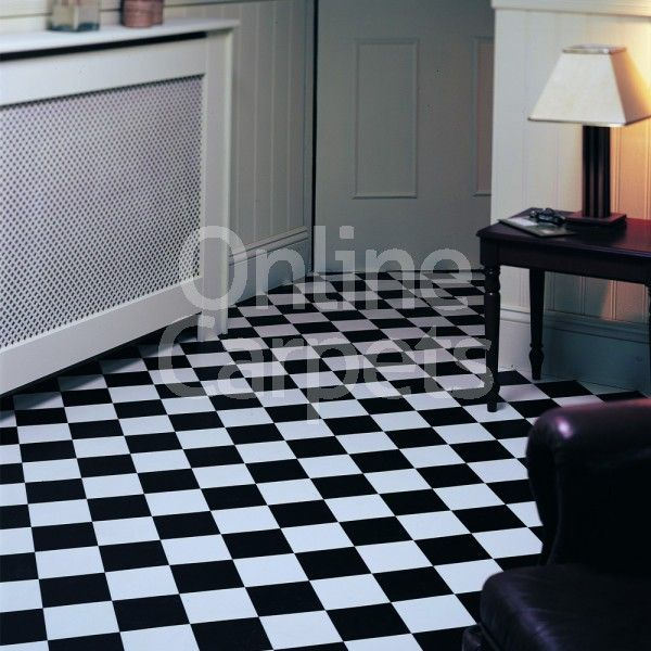 Pisa Black White Elite Tiles Rhino Floor Vinyl Flooring