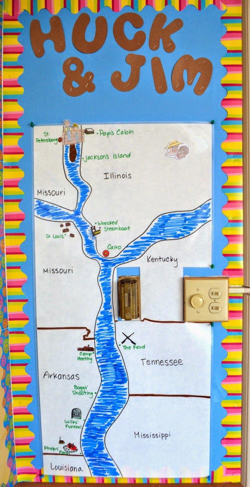 Huckleberry Finn Map Bulletin Board! A fun interactive map of Huck ...