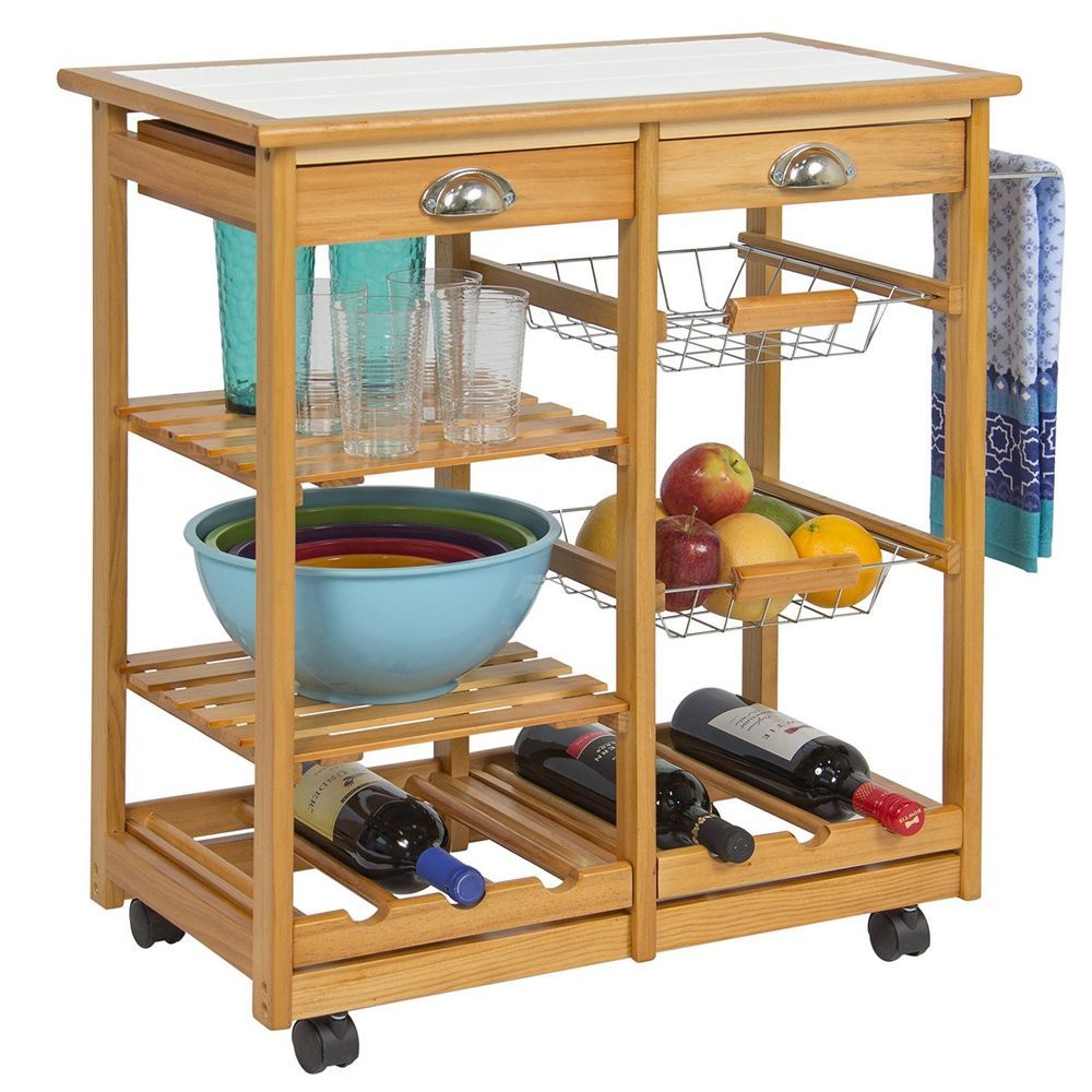 Buffet Table Rolling Sideboard Dining Room Kitchen Cart Drawer Storage Cabinet