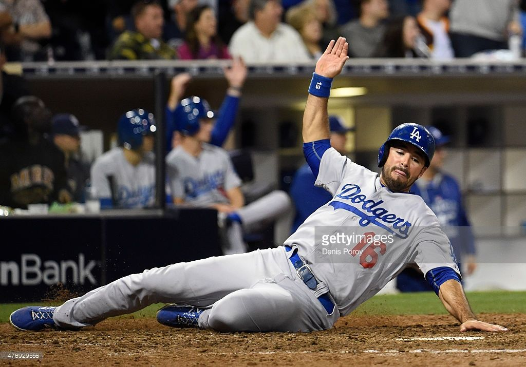 Andre Ethier 16 Of The Los Angeles Dodgers Slides As He Scores During The Eighth Inning Of A Baseball Game Against Andre Ethier Petco Park Los Angeles Dodgers