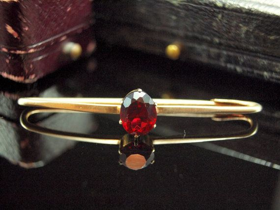 Vintage Faux Garnet Gold Pin Rolled Gold Bar by BelmontandBellamy, £17.00