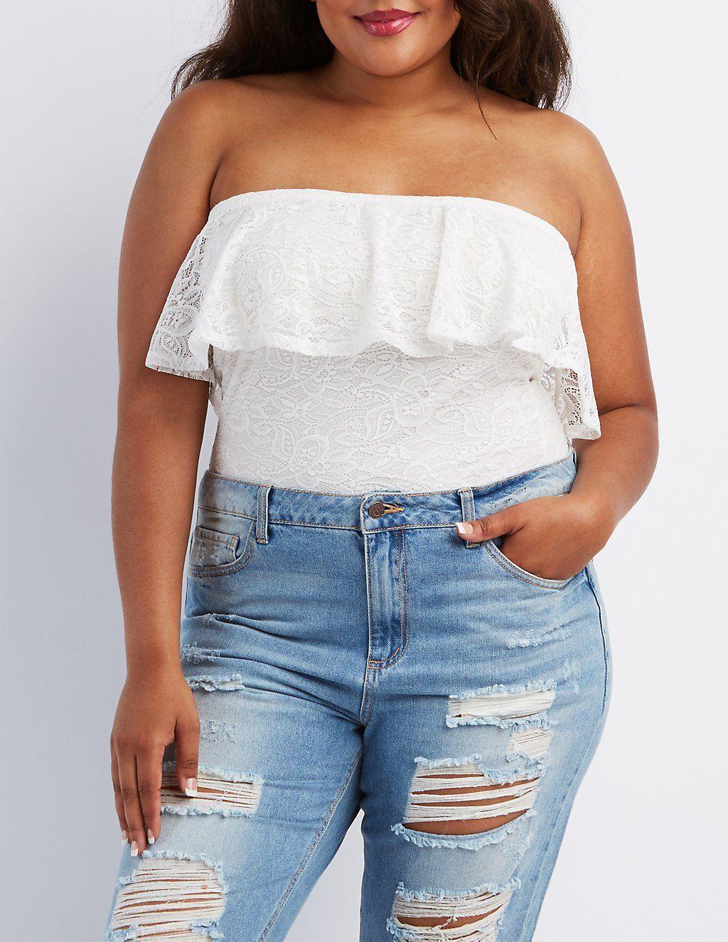 Plus Size Strapless Lace Bodysuit  Halloween  Pinterest  Lace