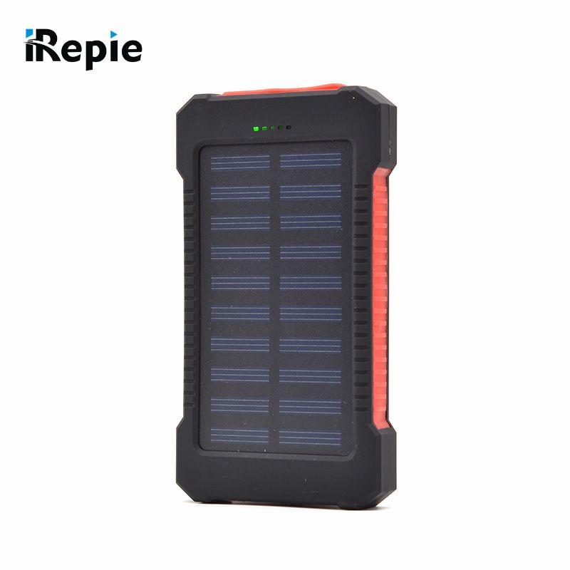 Universal 12000mah Solar Power Bank Emergency Led Light Dual Usb Port Solar Panel External Battery Portable For Mobile Phone Pr Solar Battery Bank Mobil