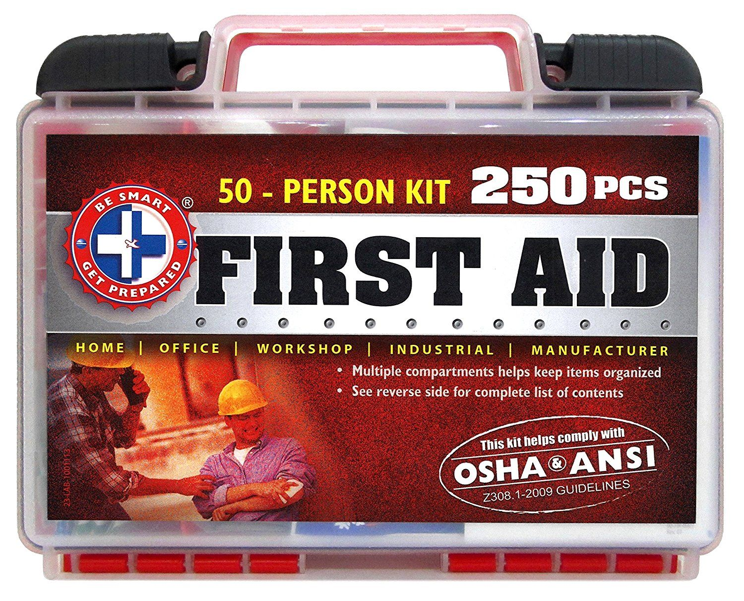Be Smart Get Prepared 250 Piece First Aid Kit with ANSI