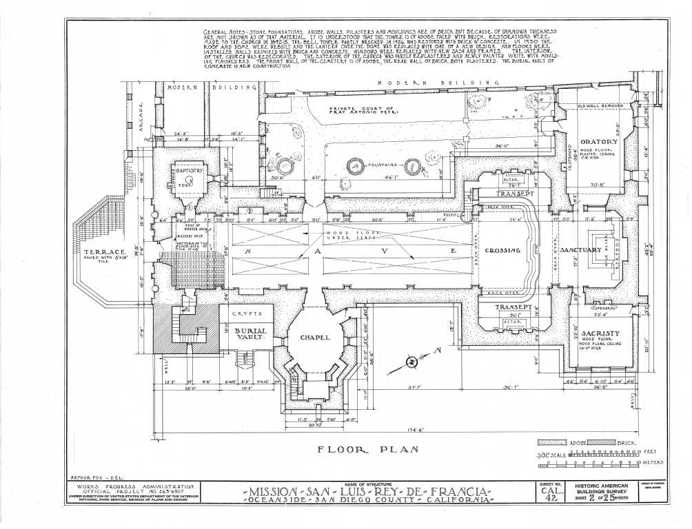 Mission San Luis Rey Floor Plan Of The Church Produced By The Historic American Buildings Survey Project California Missions United States Of America Mission