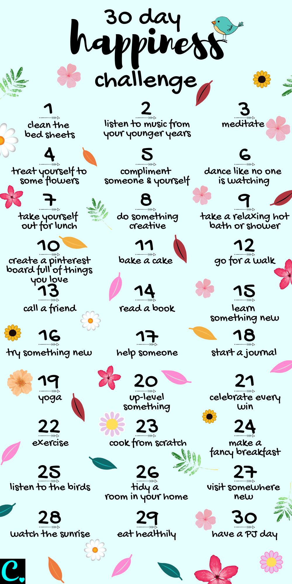 30 Day Happiness Challenge Infrographic  how to be happy  how to increase happiness  self care  personal development  how to be happy in life