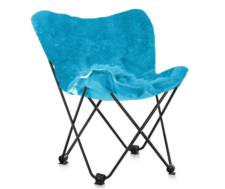 Capri Blue Faux Fur Folding Butterfly Chair At Big Lots.