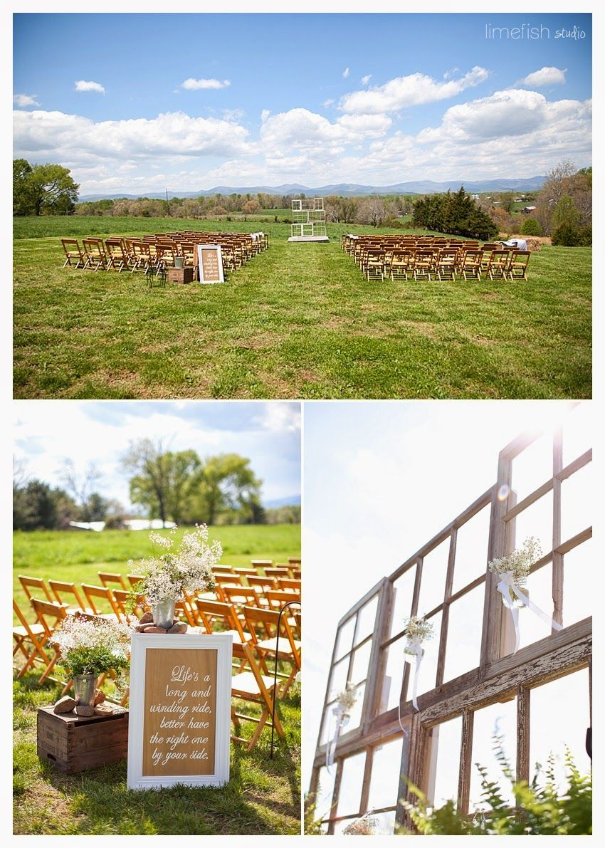 Limefish Studio: Rachel + Matt :: Madison, Virginia Wedding :: Rustic Elegant Farm Wedding :: Blue Ridge Mountains :: Unique Alter :: Windowpane Alter