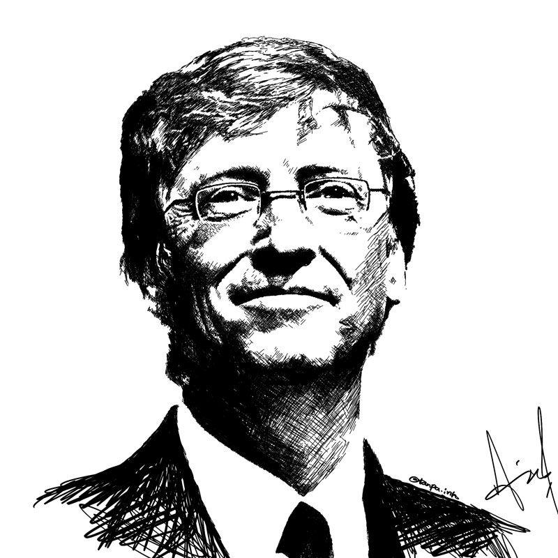 Bill Gates portrait pen line sketch by ariecool @tanpa.info | Bill gates,  Male portrait, Black and white painting