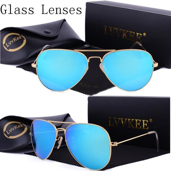 033015ed4cec lvvkee Luxury hot Pilot aviator sunglasses women Men glass lens Anti-glare  driving glasses 58mm 3025 Color Lenses