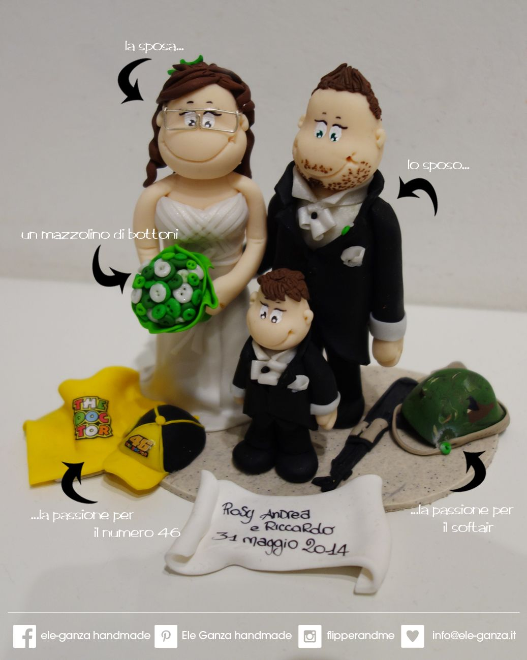 ...ele-ganza...: cake topper #matrimonio personalizzato #customcaketopper #caketopper #toppercake #topcake #weddingidea #weddingcake #wedding #bride #weddingcaketopper #sopratorta #cakedesign #cakeidea #caketop #fimo #clay #clayproject #clayminiature #valentinorossi #46 #motogp www.ele-ganza.it