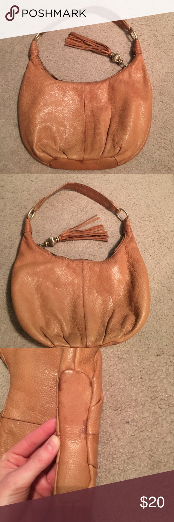 Sigrid Olsen Bag Tan leather bag. Marks on bottom of exterior and interior  is dirty but it s very hard to see because of the pattern on the material. 24311c207e