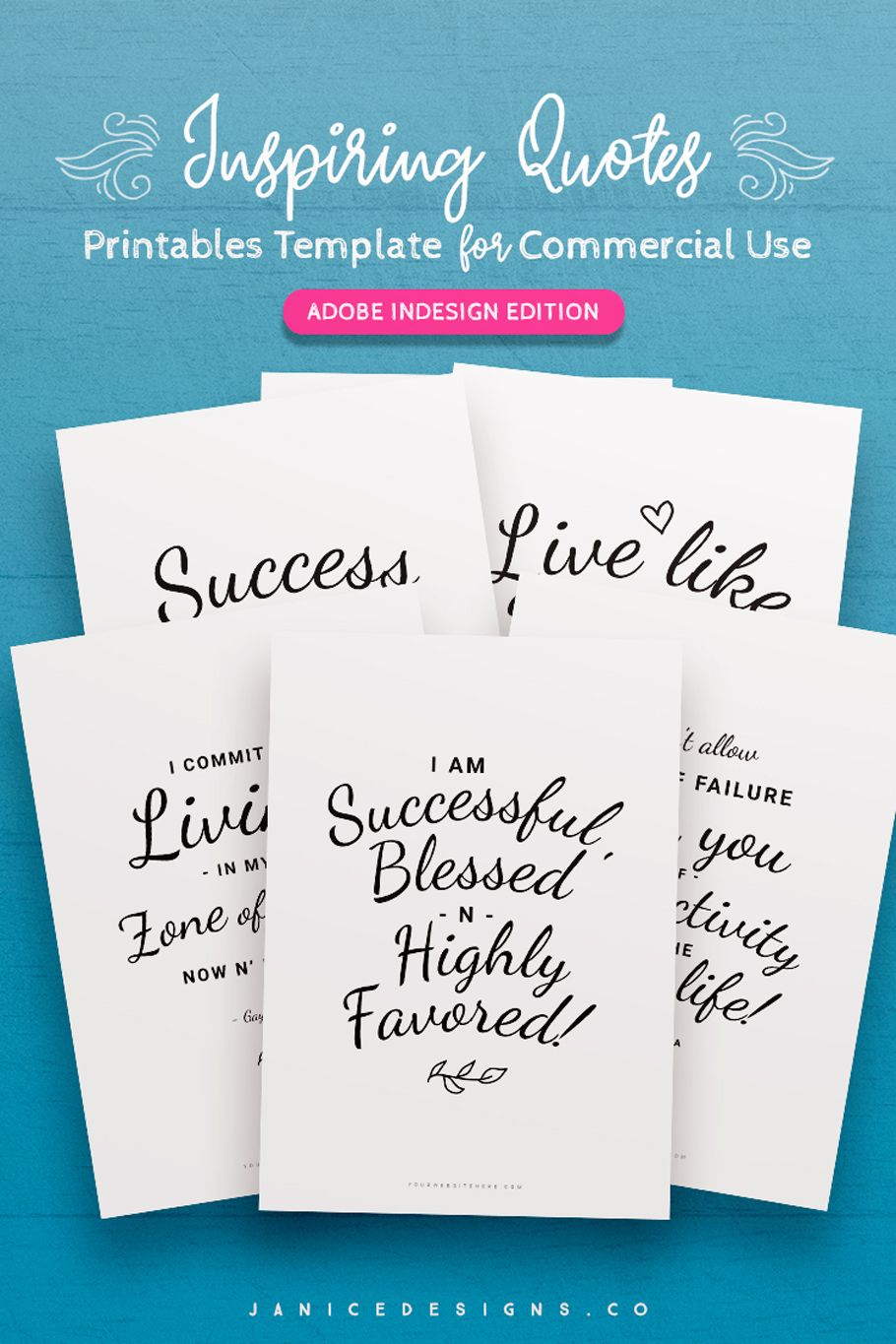 Inspiring Quotes Printables InDesign Template For
