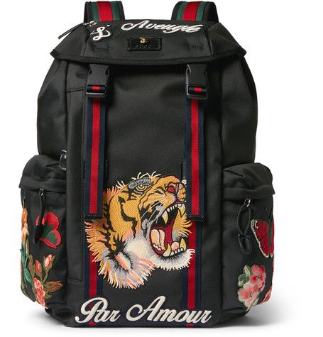 f53d1c8b10d3 Patch-Embellished Canvas Backpack | MR PORTER Gucci Bookbag, Supreme  Backpack, Men's Backpack