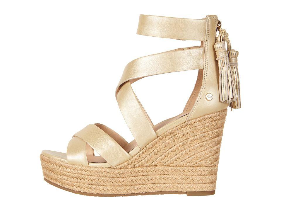 28451a46cdd UGG Raquel Metallic Women s Wedge Shoes Soft Gold