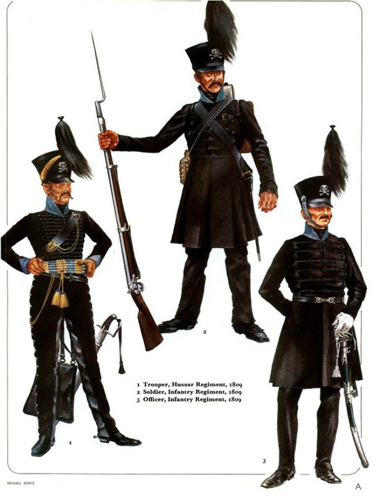 Trooper, Brunswick Hussars, 1809 Private, Infantry Regiment, 1809 Officer, Infantry Regiment