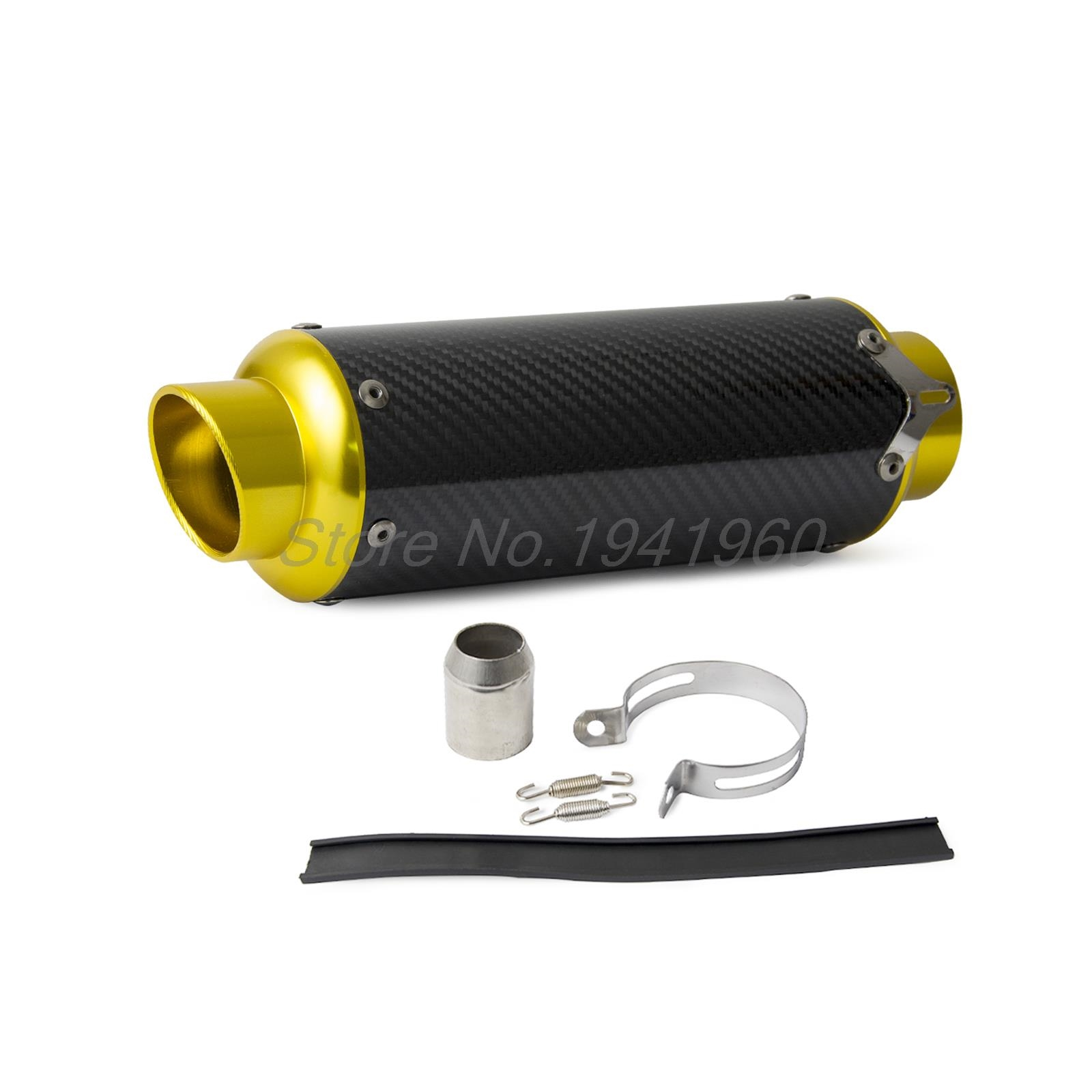 85.00$  Watch now - http://ali19r.worldwells.pw/go.php?t=32673864516 - Carbon Fiber CNC Exhaust Muffler Pipe Gold For Street Sport Racing motorcycles 85.00$