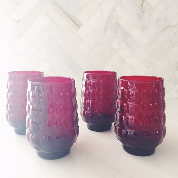 Set of 4 Red Bubble Tumblers by HostessHaven on Etsy