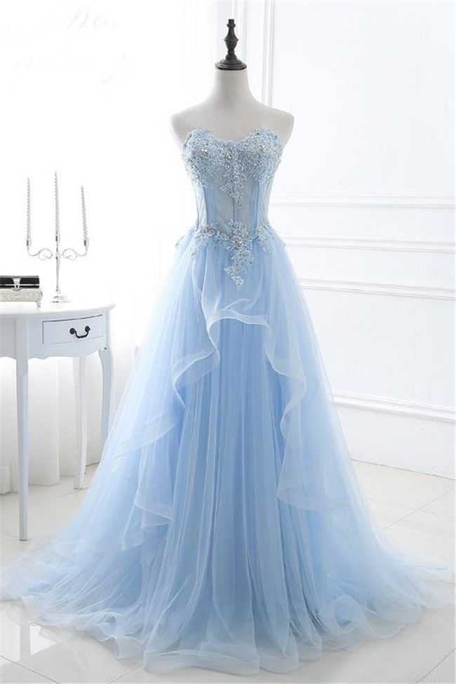 f06b566f94 A Line Sweetheart Corset Light Blue Tulle Ruffle Applique Beaded Prom Dress