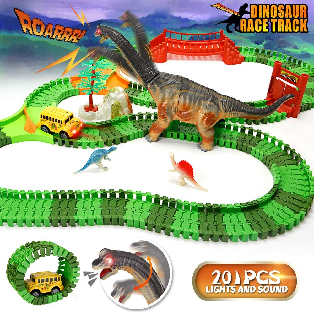 Urtoypia Dinosaur Toys Race Car Track 201pcs Flexible Race Track Set With Moving Head And Sound Dinosaur Hot Wheels Race Track Hot Wheels Races Toy Race Track