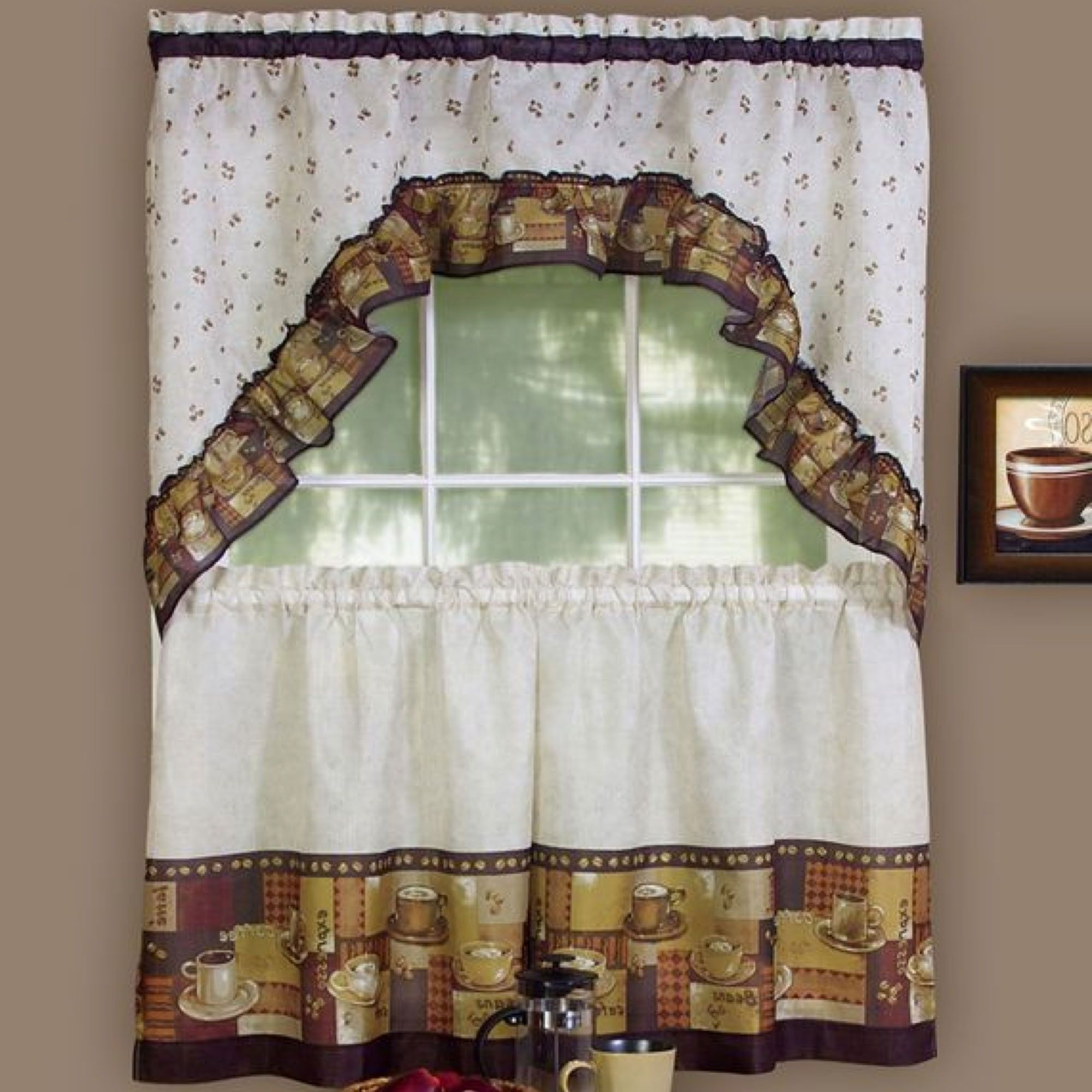 Kitchen Nice Coffee Themed Kitchen Decor Curtains Simple Curtain With Coffee Theme With Images Kitchen Decor Themes Coffee Kitchen Curtain Sets Kitchen Window Curtains