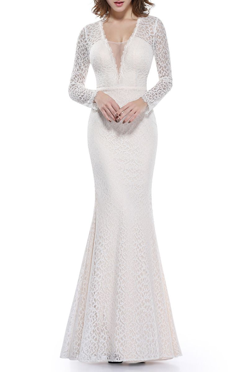 Sheer lace long mermaid evening dress white lace gown gowns and