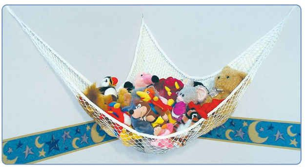 Store stuffed animals in a toy hammock.