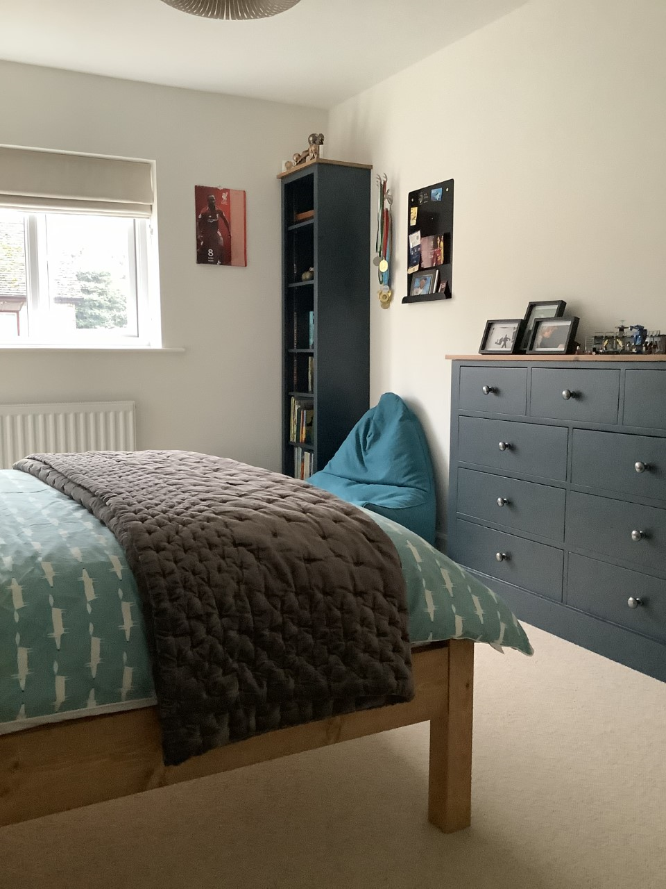 We love this painted bedroom furniture with Pine tops. It ...
