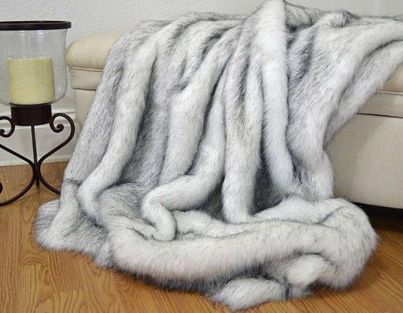 Faux Fur Throw Blanket White Husky Faux Fur Fake Fur Blanket