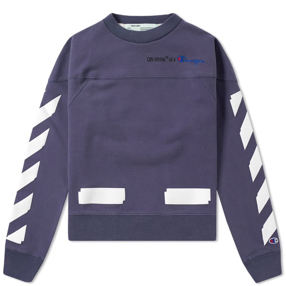 Off White X Champion Cropped Crew Sweat In Blue Off White Clothes Sweatshirts