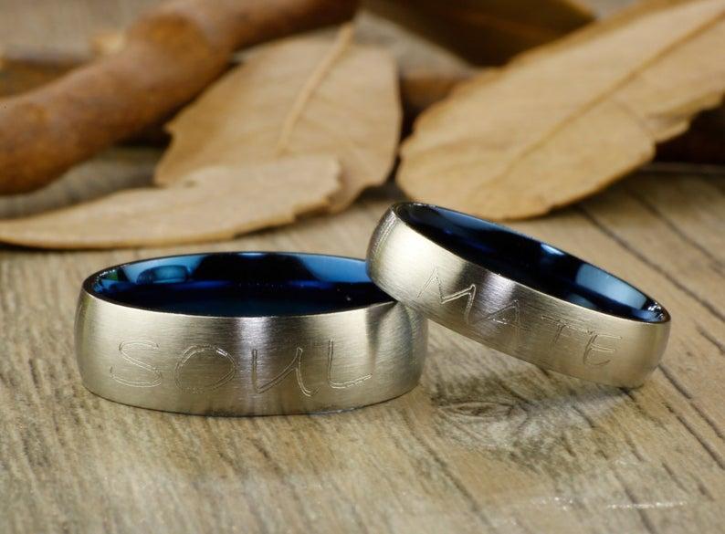 Couple Rings Set Handmade Blue Customized Matte Wedding Bands Titanium Rings Set Anniversary Rings Set