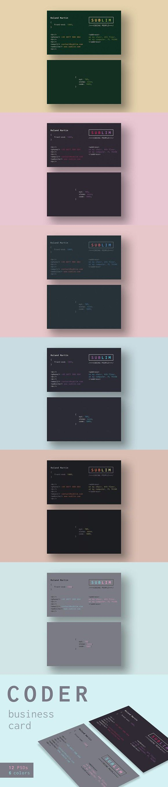 Coder Developer Business Cards Card Templates Designs Visit