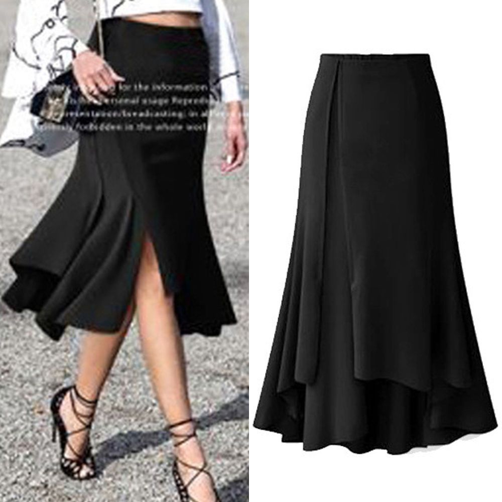 New Women Ladies Casual Long Asymmetrical Skirt AU Size 8 10 12 14 16 18 #2203