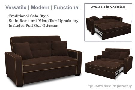 Jacksonville Modern Convertible Futon Sofa Bed Sleeper Chocolate