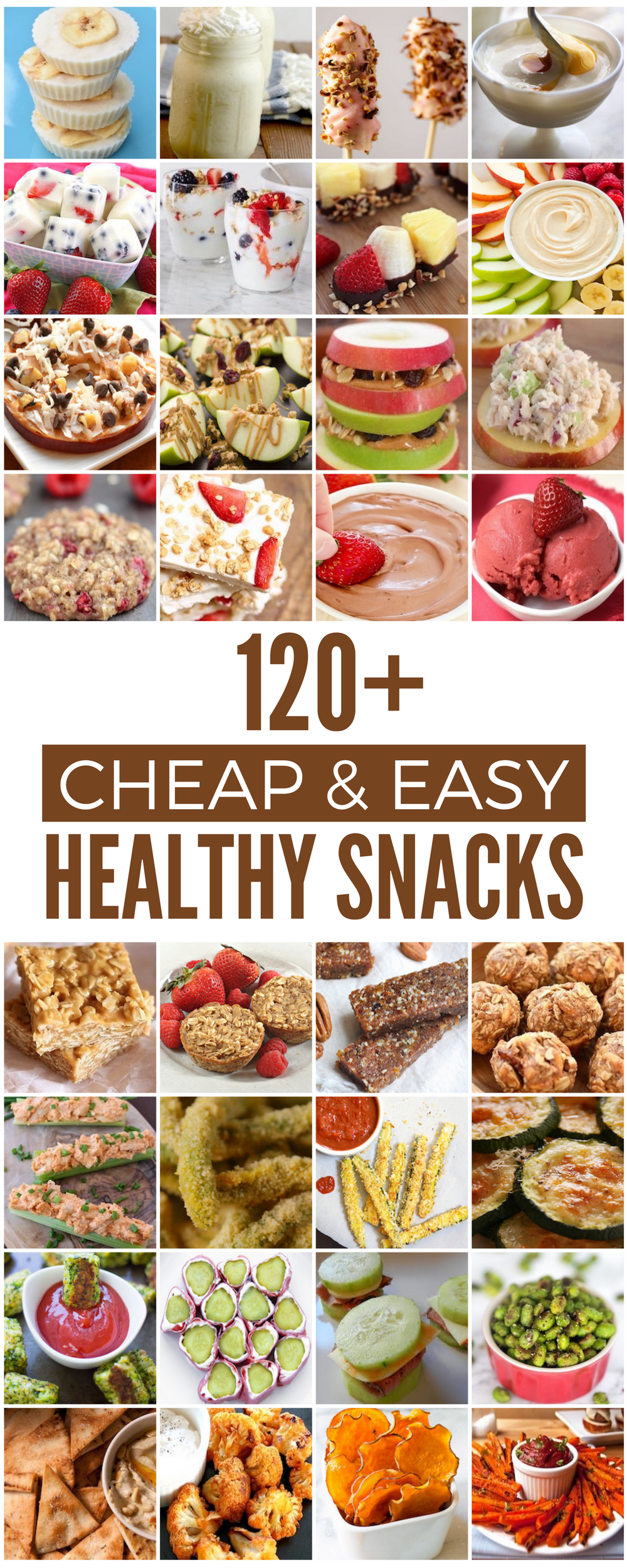 120 Cheap & Healthy Snacks Shares Eat better for less with these cheap and healthy snack recipes. Whether you are looking for kid-friendly snacks, low calorie snacks or low carb snacks, there are healthy snacks for everyone here! Fruit, Yogurt & Frozen Healthy Snacks Frozen Banana Yogurt Bites from Eats Amazing Greek Yogurt Breakfast Bark from Go Eat And Repeat … Cheap & Healthy Snacks Shares Eat better for less with these cheap and healthy snack recipes. Whether you are looking for kid-friendly snacks, low calorie snacks or low carb snacks, there are healthy snacks for everyone here! Fruit, Yogurt & Frozen Healthy Snacks Frozen Banana Yogurt Bites from Eats Amazing Greek Yogurt Breakfast Bark from Go Eat And Repea