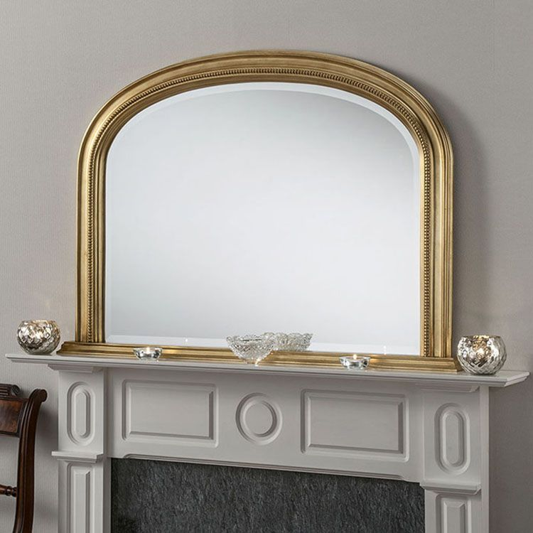Gold Bevelled Overmantle Mirror 112 W X 79cm H