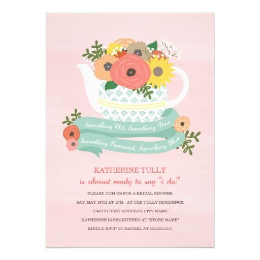 Flower garden teapot bridal shower invitation gardens bridal flower garden teapot bridal shower invitation filmwisefo Gallery