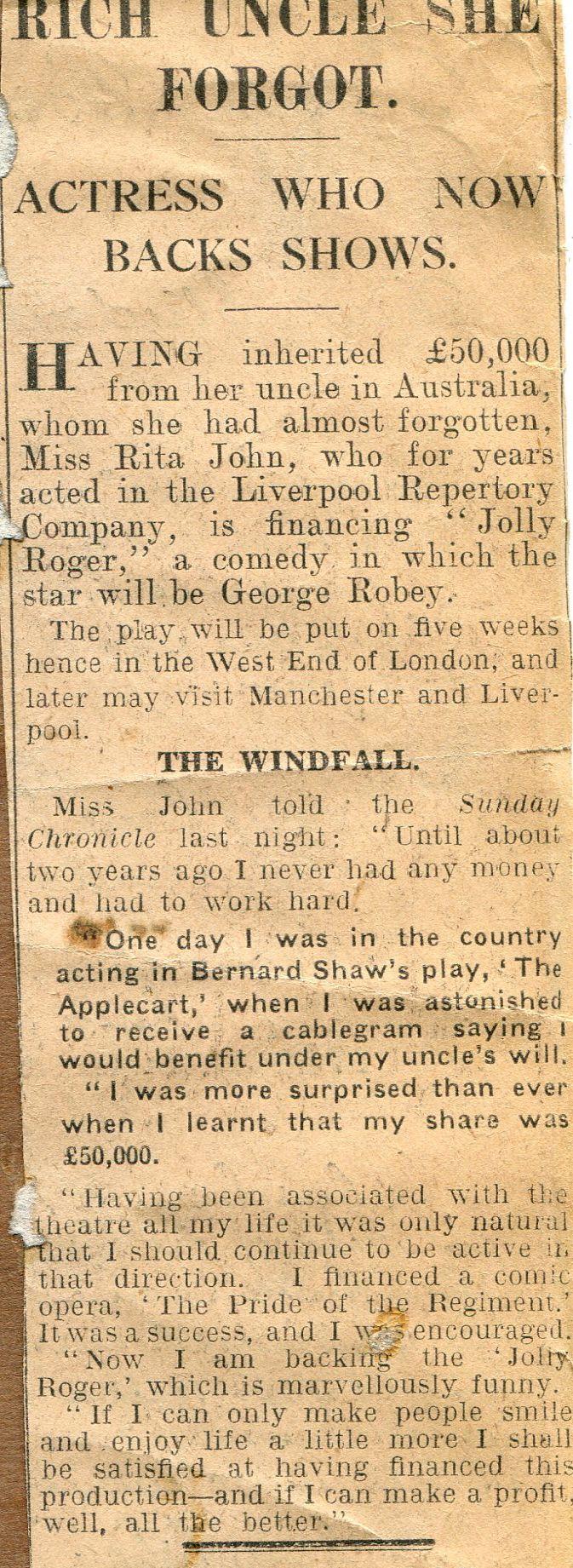 Scrapbook paper england - Article In A 1920 Playhouse Theatre Scrapbook