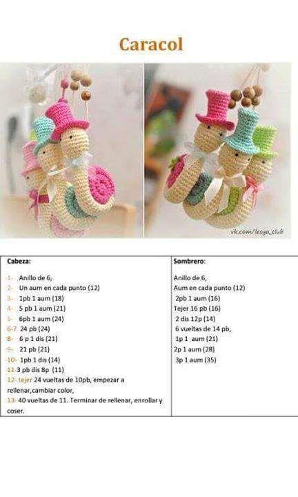 Caracol | amigurumi | Pinterest | Patrones amigurumi, Patrones y Tejido