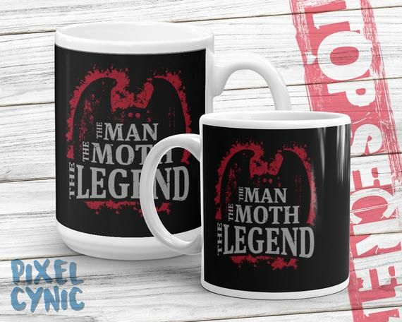 Mothman Mug, The Man Moth Legend , Cryptozoology Gift, The Moth Man of Point Pleasant West Virginia Cryptid Silhouette Mug #westvirginia