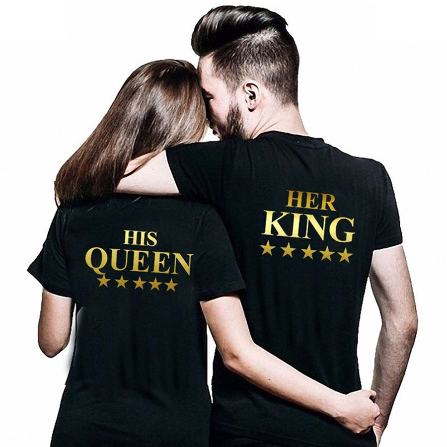 Couple Matching Jersey King Queen T-Shirts Graphic His Hers  Design 2 shirts