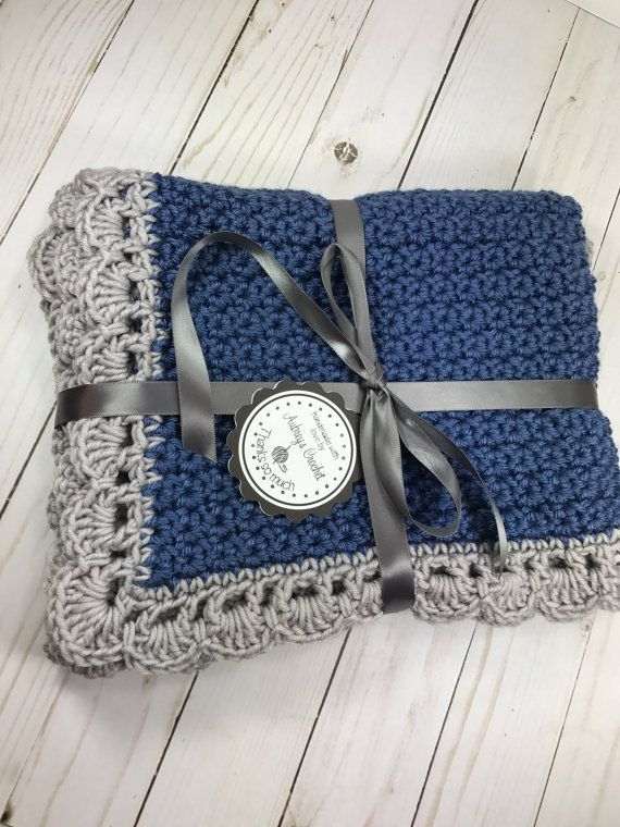 Crochet baby blanket, baby blanket, blue baby blanket, baby boy ...