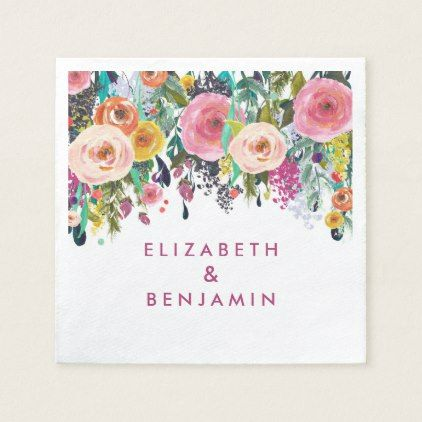 Elegant floral spring summer wedding name paper napkin pinterest elegant floral spring summer wedding name paper napkin floral gifts flower flowers mightylinksfo