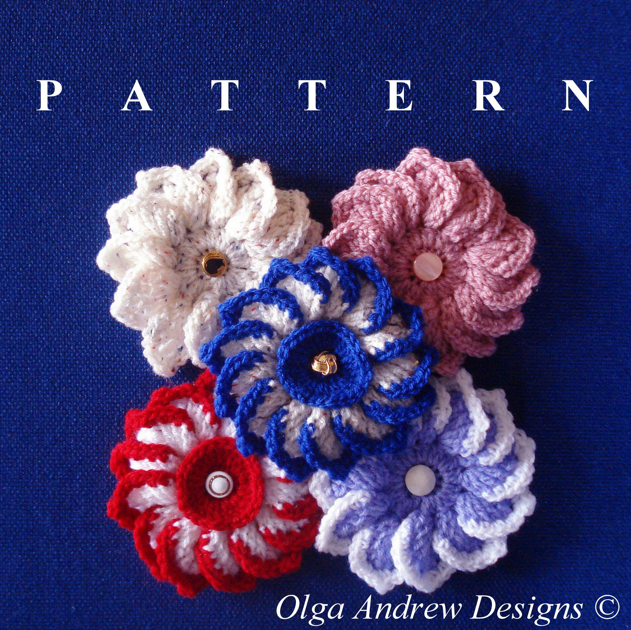 "Dahlia"" flower with centre and button. Easy crochet tutorial pattern ..."